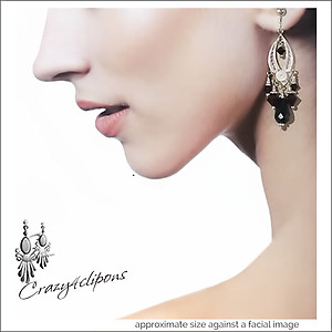 Sterling Silver Filigree Luxury Black Onyx Earrings | Your choice:  Pierced or Clips
