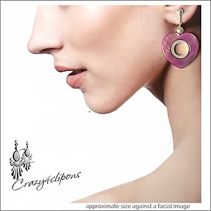 Purple Hearts.  Teens Earrings | Your choice:  Pierced or Clips