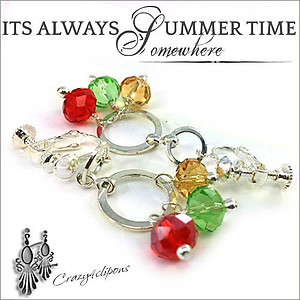 Colorful Summer Carnival Earrings | Your choice: Pierced or Clips