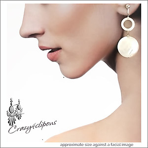 Dangling Mother of Pearl White Earrings | Your choice:  Pierced or Clips