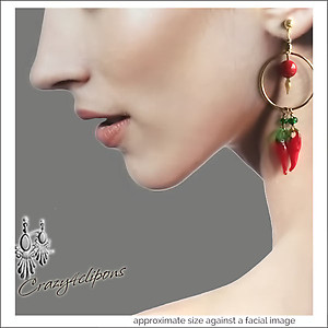 Summer Hot Chili Pepper Earrings | Your choice:  Pierced or Clips