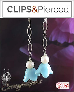 Easter Flower Bell & Pearl Earrings | Your choice:  Pierced or Clips