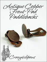 Clip Earrings Findings: Copper Front Pad Paddle-Back Parts