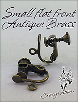 Clip Earrings Findings: Small Antique Brass Screw-back