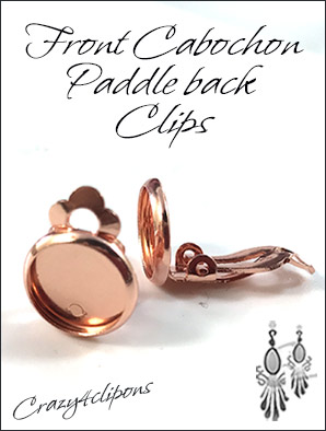 Bright Copper Front Cabochon Paddleback Clips