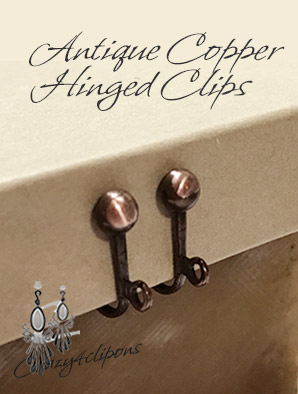Clip Earrings Findings: Antique Copper Hinged