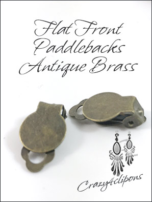 Clip Earrings Findings: Brass Front Pad Paddle-Back Parts