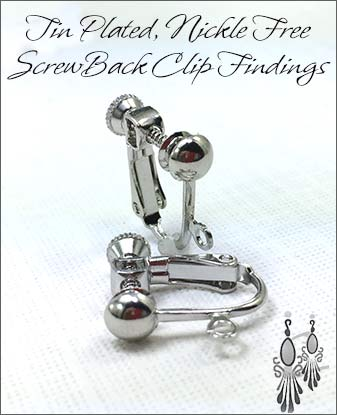Clip Earrings Findings: Tin Plated Nickel Free Components