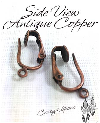 Clip Earrings Findings: Antique Copper Pierced-Like Clips