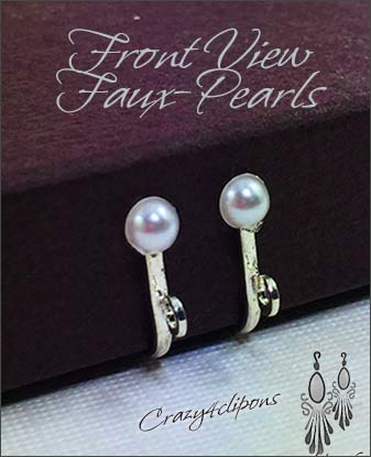 Clip Earrings Findings: W/ Pearl Top