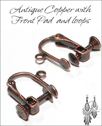 Clip Earrings Findings: Antique Copper Parts