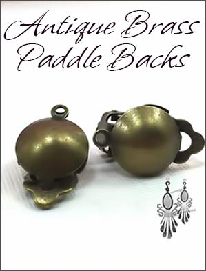 Clip Earrings Findings: Antique Brass Dome Paddle Back
