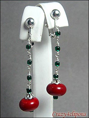 Reconstruct - Berry Merry Xmas Earrings | Your choice:  Pierced or Clip on
