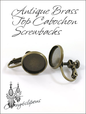 Antique Brass Cabochon Screwbacks