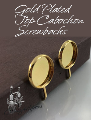 Gold/Silver  Plated Cabochon Screw-backs Clips