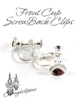 Front Cup Silver Screwback Clip Findings