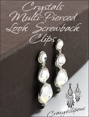 Crystal Multi-Pierced Look-Like Clip Findings