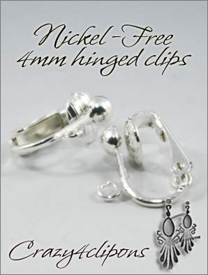 Clip Earrings Findings: 4mm Nickel-Free Hinged Parts