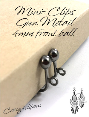 Small Gunmetal Clip Findings: Screw back Clips 4mm