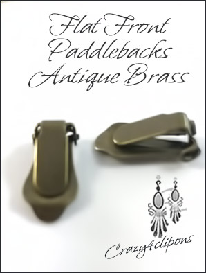 Clip Earrings Findings: Brass / Bronze Front Pad Paddle-Back Parts