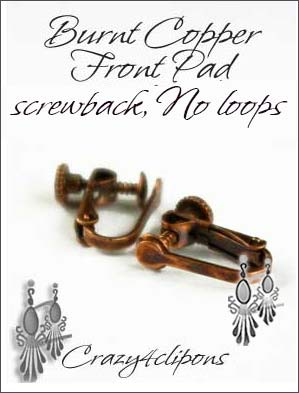 Clip Earrings Findings: Burnt Copper w/ screw backs
