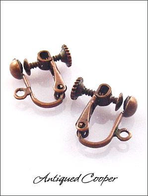 Clip Earrings Findings: Antiqued Copper Screw Back