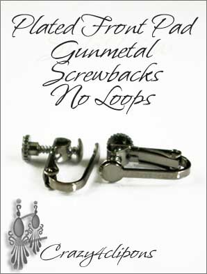 Clip Earrings Findings: Gunmetal Front Pad Screw Backs Parts