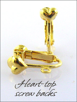 Clip Earrings Findings: Screw w/Fancy Hearts