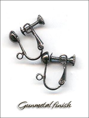 Clip Earrings Findings Gunmetal Black Back