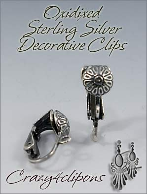 Clip Earrings Findings: Oxidized Sterling Silver