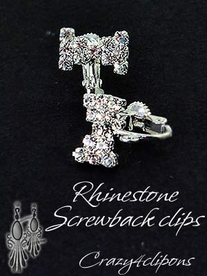 Clip Earrings Findings: Rhinestone Screw Back Parts