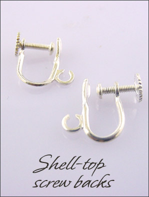 Clip Earrings Findings: Silver/Gold Top Shell Screw backs