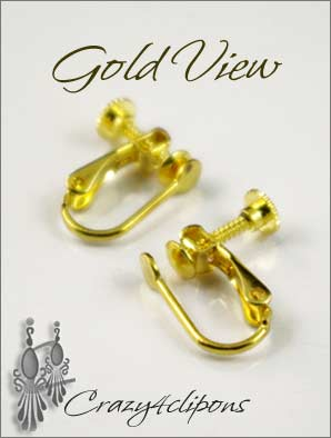Clip Earrings Findings: Hinged Screw Parts w/ Front Cups
