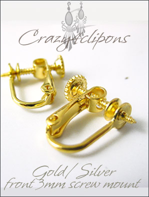 Clip Earrings Findings: Gold/Silver Front Screws Parts