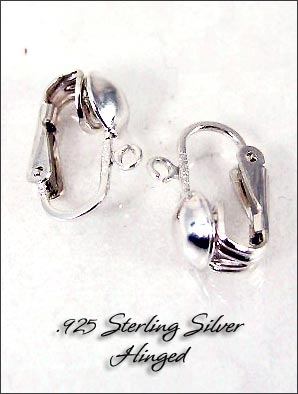 Clip Earrings Findings Sterling Silver Front Ball