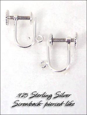 Clip Earrings Findings: Sterling Silver - Pierced-like