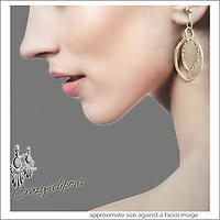 Modern Double Silver Hoop Earrings | Your choice: Pierced or Clips