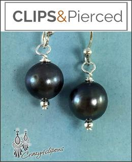 Pierced & Clip Earrings: Gray Clips earrings | fresh water pearls