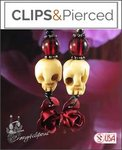 Skulls & Roses Earrings | Your choice: Pierced or Clips