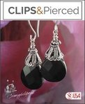 Sophisticated Black Onyx Teardrop Earrings | Your choice: Pierced or Clip on