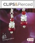 Holiday Ready! Red Crystals Earrings | Your choice: Pierced or Clips