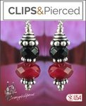 Black & Red Earrings | Your choice:  Pierced or Clips