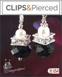 Black Crystals Earrings | Your choice: Pierced or Clips