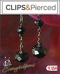 Sophisticated Long Black Crystal Earrings | Your choice: Pierced or Clips