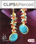 Dazzling Turquoise & Coral Earrings | Your choice: Pierced or Clips