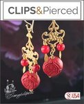 Gold & Red Cinnabar Earrings| Pierced & Clip Ons