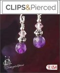Amethyst & Swarovski Earrings | Your choice: Pierced or Clip on