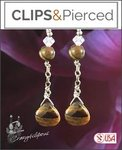 Dangling Tiger-eye Swarovski Crystal Earrings | Your choice: Pierced or Clip on