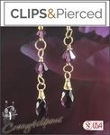 Swarovski Crystals Dangling Earrings | Your choice: Pierced or Clip on