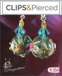 Artsy Lampwork Retro Earrings | Your choice:  Pierced or Clip on
